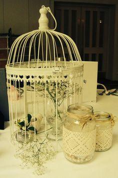 Vintage birdcage wedding centrepiece