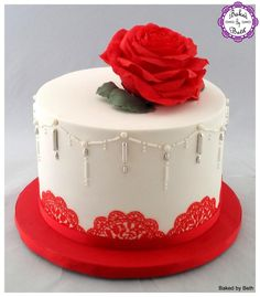Red Rose by BakedbyBeth - http://cakesdecor.com/cakes/266420-red-rose