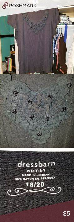 Dress barn Blouse Black shirt with flower design. Super stretchy. GUC. Smoke free/Pet friendly home. Dress Barn Tops Blouses