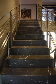 Corridor Design, Home Stairs Design, Balcony Design, Wall Cladding Designs, Granite Stairs, Tiled Staircase, Glass Stairs, House Stairs, Stairways