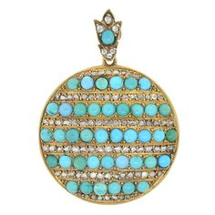 Victorian 15kt Turquoise & Rose Cut Diamonds Locket – A. Brandt + Son