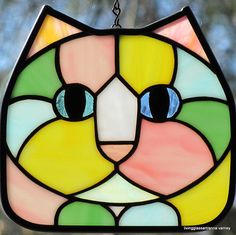 Stained Glass Pastel Calico Cat Face Suncatcher by LivingGlassArt