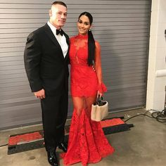 WWE Superstars John Cena and Nikki Bella (Nicole Garcia Colace) at the 2017 WWE Hall of Fame ceremony in Orlando #WWE #WWEHOF #WrestleMania #wwecouples #TotalDivas