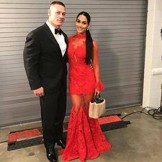 WWE Superstars John Cena and Nikki Bella (Nicole Garcia Colace) at the 2017 WWE Hall of Fame ceremony in Orlando #WWE #WWEHOF #WrestleMania #wwecouples #TotalDivas