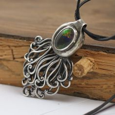 small octopus by skladsznurowadel - handmade silver pendant with natural australian opl