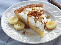 Impossibly Easy Banana Custard Pie- Peel open a new version of homemade banana pie. Warm caramel topping adds a special touch.