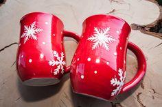 Red Snowflake Handmade Coffee Pottery Mug, Large Handmade mug, White stoneware mug, Wheel thrown pottery mug, MADE TO ORDER