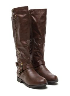 Zippy Feeling Double Buckle Boots BROWN CHESTNUT BLACK - GoJane.com