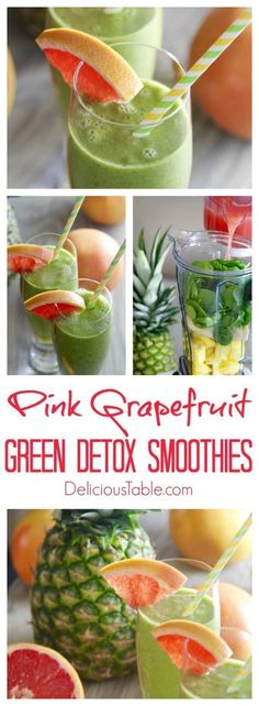 These Pink Grapefruit Green Detox Smoothies taste as good as they look! A Sweet, clean, and full of green goodness green smoothie recipe full of healing ingredients to detox and nourish you. #greensmoothies #healthysmoothie #smoothierecipes #detoxrecipes #veganrecipes #cleaneatingrecipes #cleaneatingideas #cleaneatingsnacks via @www.pinterest.com/delicioustable