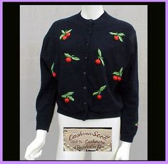 Vintage Cashmere Sweater Embroidered Cherries