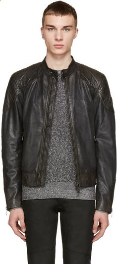 e5ae8a94 $1,950, Belstaff Black Waxed Leather Outlaw Jacket. Sold by SSENSE. Click  for more info: lookastic.com/.