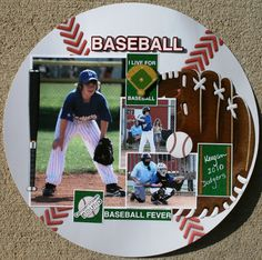 Baseball Fever Layout Reminisce - Scrapbook.com Baseball Scrapbook, Kids Scrapbook, Scrapbook Paper Crafts, Scrapbook Cards, Scrapbook Layout Sketches, Scrapbook Templates, Scrapbooking Layouts, Baseball Pictures, 1 Live