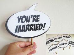 PRINTABLE PDF,Set of 6 Comic Superhero Wedding Photo Booth Prop Speech Bubbles, Instant Download