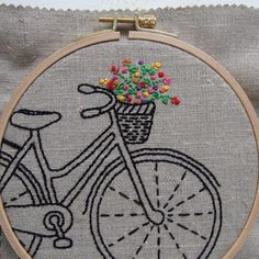 PDF embroidery pattern bicycle hand embroidery by iHeartStitchArt Embroidery Transfers, Hand Embroidery Stitches, Silk Ribbon Embroidery, Embroidery Hoop Art, Hand Embroidery Designs, Vintage Embroidery, Cross Stitch Embroidery, Machine Embroidery, Embroidery Scissors