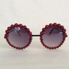 The 1970s - Embellished Sunglasses Glasses Eyewear Burgundy Faux Pearl Pearls