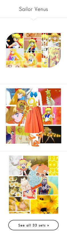 """Sailor Venus"" by princesspenguin-1 ❤ liked on Polyvore featuring art, sailormoon, SailorVenus, Carven, Giuseppe Zanotti, white, orange, Quay, TOMS and Forever New"