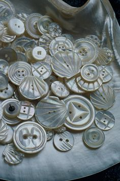 beautiful shell buttons - I love how smooth and cold they are!
