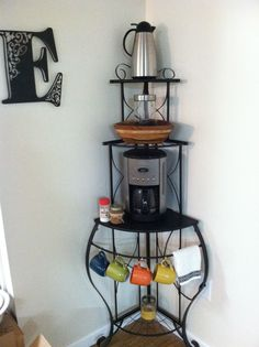 Corner coffee station! Saving so much counter & cabinet space!