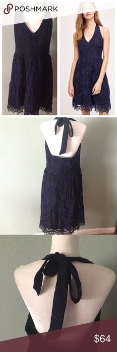 """Anthropologie  NWT HD in Paris Celeste Lace Dress Anthropologie NWT HD in Paris Celeste navy Lace Dress. Pretty halter tie back style.  Gorgeous navy lace over black for contract  Lined inside. Zips in the back. Photos don't do it justice. Great for any special occasion or a wedding. Size large. Approximate measurements 19"""" armpit to armpit, 33""""'length from front v drop, 35"""" waist, 45"""" hips, 30"""" back length, 38"""" hem. New with tag. Anthropologie Dresses"""