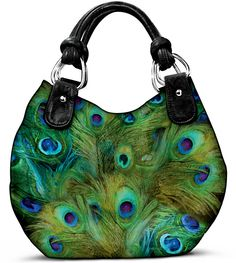 Pretty As a Peacock Handbag, a custom-design shoulder bag exclusively from The Bradford Exchange. This fabulous, women's handbag is handcrafted of soft faux leather and features a glorious all-over peacock feather design created by artist Mindy Sommers. Green Purse, Green Handbag, Green Shoulder Bags, Shoulder Handbags, Handbags On Sale, Luxury Handbags, Peacock Purse, Peacock Colors, Peacock Feathers