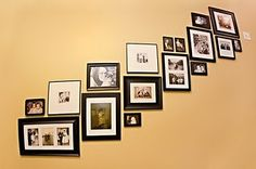 Stairway pic ideas, add pics of the kids mixed with pictures they have done:)