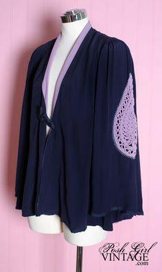 1920's Blue Kimono Blouse