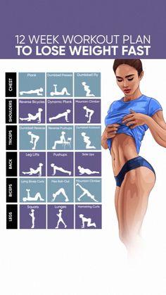 12 Week Workout Plan, Gym Workout Plan For Women, Weekly Workout Plans, Weight Loss Workout Plan, Yoga For Weight Loss, Workout Routines, Weight Training, Home Workout Plans, Gym Plan For Women