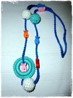 Hordozós nyaklánc - buborék, fonAlom, meska.hu crochet necklace Teething Necklace, Crochet Necklace, Necklaces, Diy, Jewelry, Products, Accessories, Jewlery, Crochet Collar
