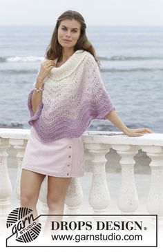 Lavender Wash - Poncho with wave pattern, worked top down. Sizes S - XXXL. The piece is worked in 1 strand DROPS BabyAlpaca Silk and 2 strands DROPS Kid-Silk. - Free pattern by DROPS Design Poncho Cape, Knitted Poncho, Drops Design, Knitting Patterns Free, Free Knitting, Crochet Patterns, Crochet Ideas, Kids Poncho Pattern, Crochet Design