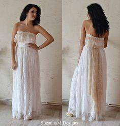 Ivory Lace Bohemian Wedding Dress Long Bridal by SuzannaMDesigns ...