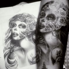#blacknwhite #blackandgrey #permanent #ink #tattoo #tattooholic #tattooofinstagram #tattooandpiercing #girl #skull #mexicogirl #pretty #jakarta #indonesia #ghost #beauty #flower #tree #dausnambond #realist #realisttattoo #woman #face