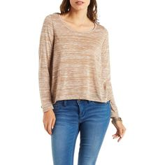 Charlotte Russe Taupe Marled Long Sleeve Flyaway Top by Charlotte... ($15) ❤ liked on Polyvore featuring tops, taupe, scoopneck top, long sleeve tops, taupe tops, boxy top and charlotte russe tops