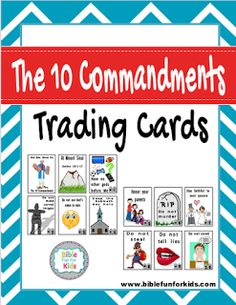 Mosses & the 10 Commandments trading cards for review and put in order #Biblefun