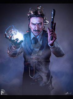 Tesla Reworking (portfolio piece) by on DeviantArt Steampunk Men, Steampunk Cosplay, Nikola Tesla, Character Inspiration, Character Art, Character Design, Rpg Cyberpunk, Tesla Quotes, Science Art