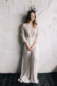 Empire waist non-corset nude cotton wedding dress by CathyTelle