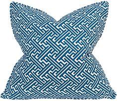 Barclay Butera Trellis 22x22 Cotton Pillow - Cobalt