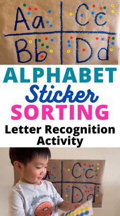 Letter Recognition Activity: Alphabet Sticker Sorting Easy Low-Prep Preschool Activity