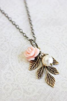 Bridesmaids Necklace Pearl Acorn Pendant