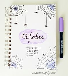 October bullet journal cover page idea. 🕸🕷