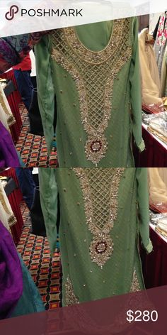Worn only once. Got so many compliments. Really unique design and definitely a showstopper piece. Kurti Neck Designs, Dress Neck Designs, Lehenga Designs, Pakistani Bridal Wear, Pakistani Dress Design, Pakistani Dresses, Party Wear Dresses, Casual Dresses, Party Dress