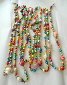 vintage mercury glass bead garland christmas feather tree 15 ft antique - Christmas Bead Garland