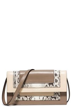 MICHAEL KORS 'Medium Surrey' Calfskin Leather Convertible Clutch. #michaelkors #bags #shoulder bags #clutch #lining #suede #hand bags