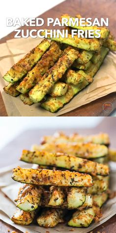 OMG so good and better than potato fries! These healthy zucchini fries are baked in the oven and loaded with parmesan cheese and herbs. Perfect way to enjoy friends without all the greasy deep fried guilt. Tasty Vegetarian Recipes, Healthy Dinner Recipes, Low Carb Recipes, Diet Recipes, Healthy Chicken Recipes, Healthy Vegetable Recipes, High Protein Recipes, Baked Zucchini Recipes Healthy, Greek Recipes