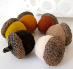 Fall Shades 6 Natural Acorns filled with felted by WoolyCatWorld