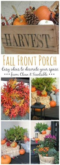 Easy fall decorating ideas for your front porch.  // cleanandscentsible.com