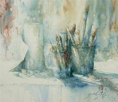 herman pekel paintings - Google zoeken Watercolor Art Paintings, Watercolor And Ink, Still Life Art, Medium Art, Les Oeuvres, Folk Art, Images, Artsy, Drawings