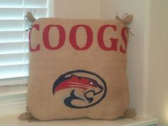 University of Houston Cougars Burlap Pillow (Natural color burlap) https://www.etsy.com/listing/157317250/university-of-houston-cougars-burlap?ref=listing-shop-header-2