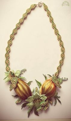 Spring necklace 1, Soutache necklace, Shibori necklace, Lace necklace, Yellow & green necklace by JewelriesbyMony on Etsy