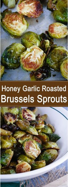 Honey garlic roasted brussels sprouts – tender on the inside, crispy edges and honey garlic flavour – a great way to change up the usual side dish! – The Most Popular Recipes Fruit Dishes, Vegetable Sides, Vegetable Side Dishes, Food Dishes, Sprout Recipes, Vegetable Recipes, Vegetarian Recipes, Cooking Recipes, Healthy Recipes