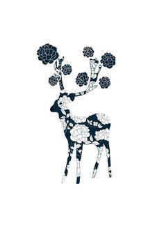 Lovely Deer imprimer fleurs blanches fleurs Rose par dekanimal